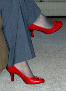 A splash of color - red shoes - may work to show your vibrant brand (MorgueFile: J Durham)